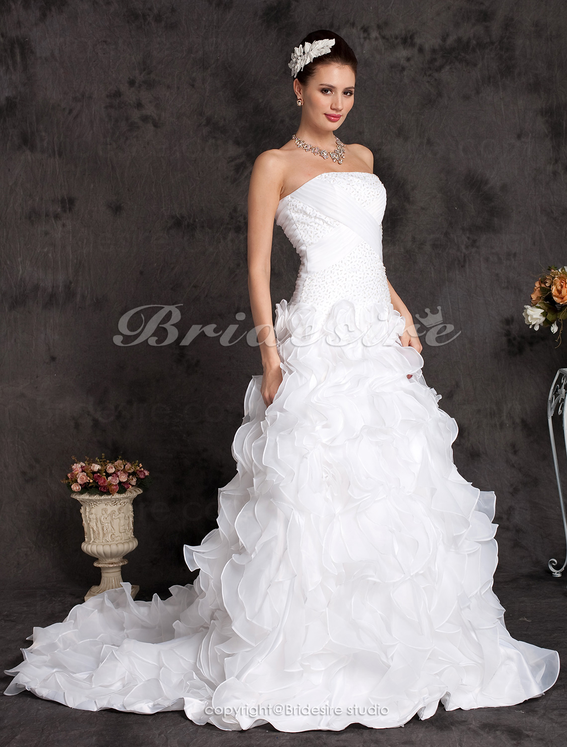 A-line Organza Satin Court Train Strapless Wedding Dress