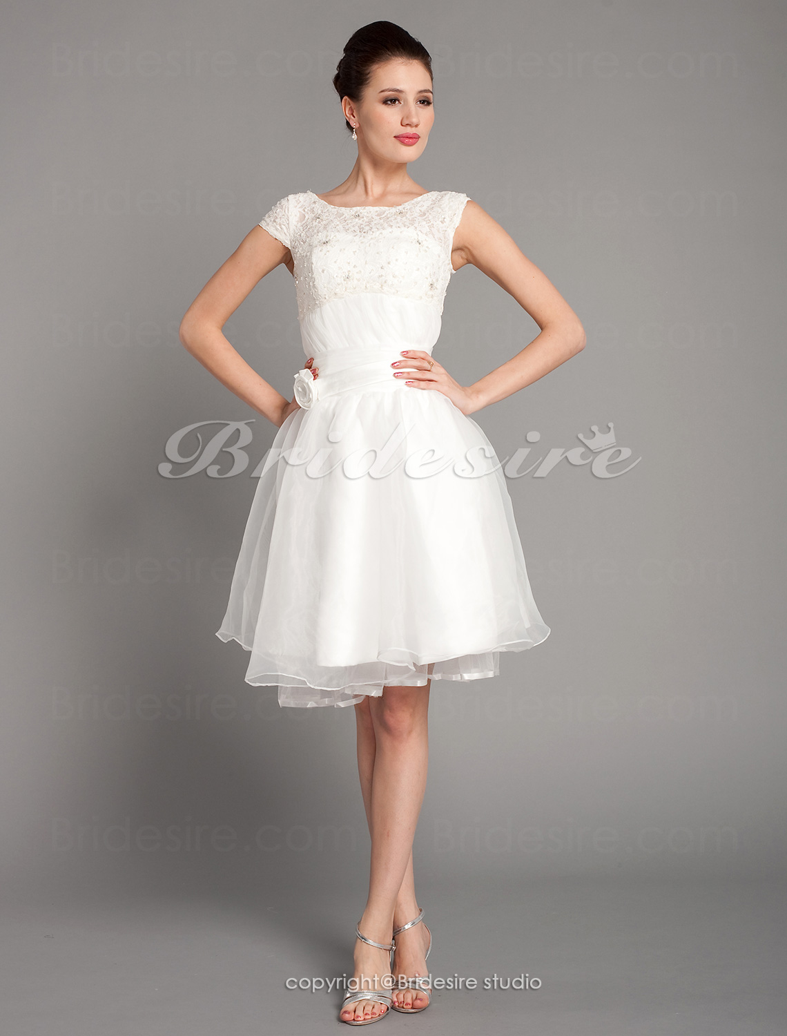 Bridesire a line bateau lace and organza wedding dress for Wedding dresses for 99