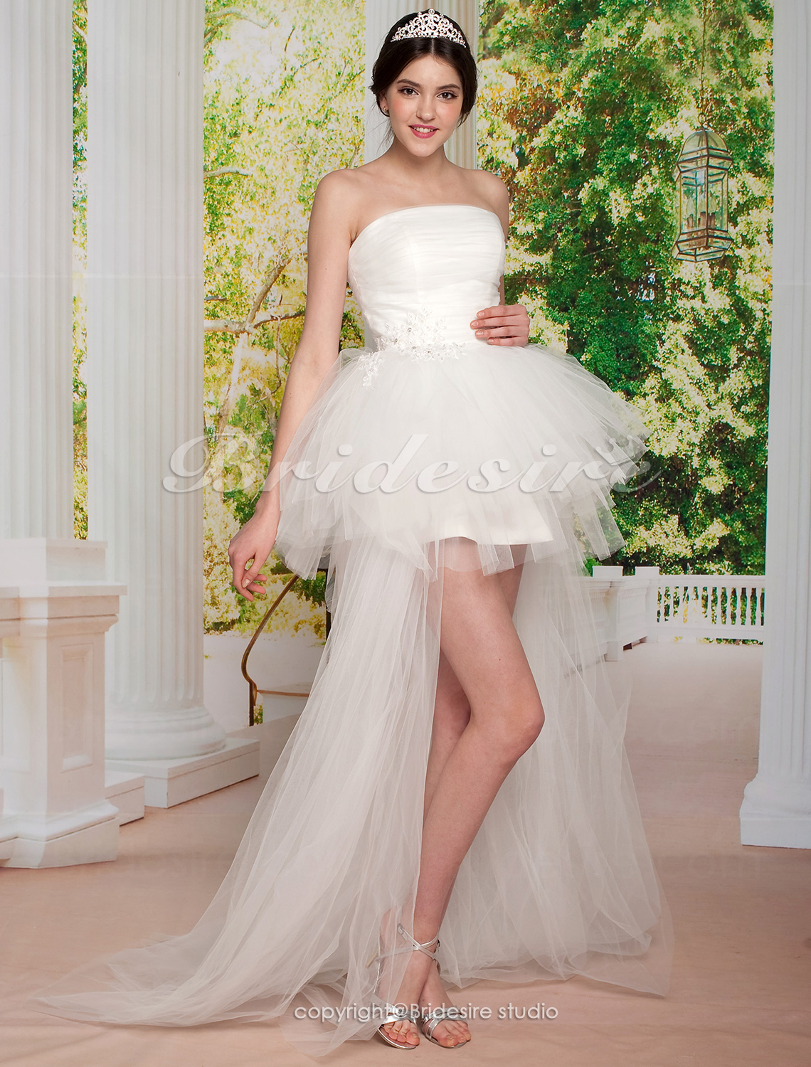 Ball Gown Asymmetrical Tulle Strapless Wedding Dress