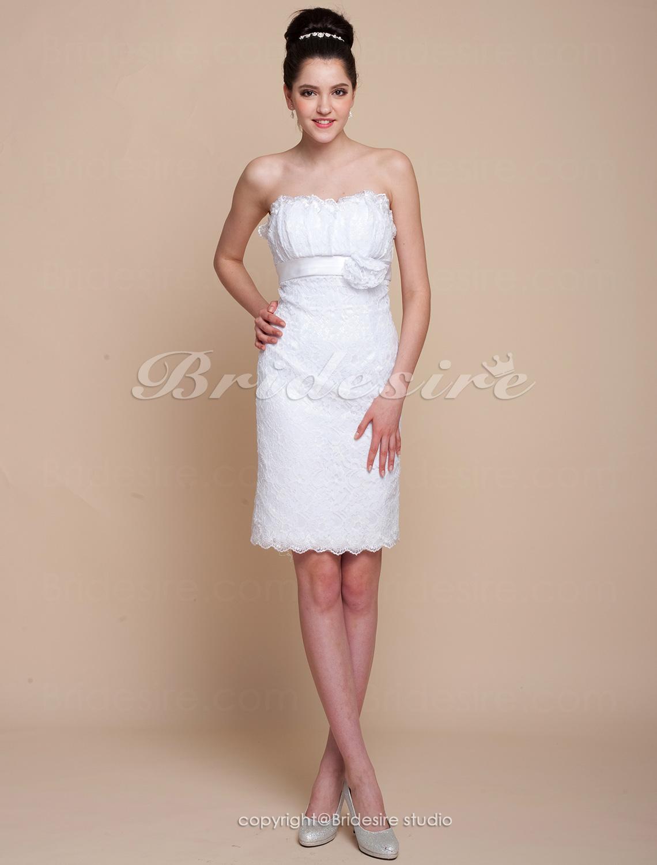 Bridesire sheath column lace short mini sweetheart for Short mini wedding dresses