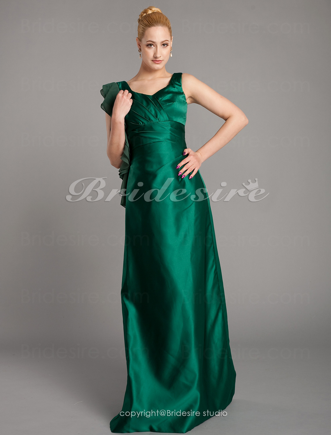 Sheath/ Column Satin Chiffon Floor-length V-neck Bridesmaid Dres