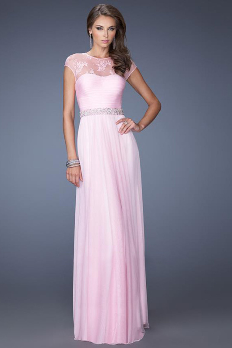 A-line Scoop Floor Length Lace Chiffon Dress