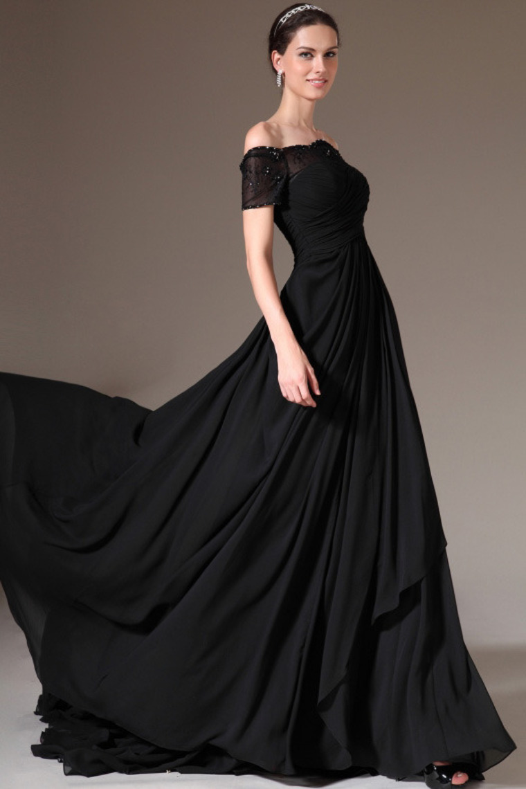 A-Linie Off the Shoulder Hof-Schleppe Spitzen Chiffon Kleid