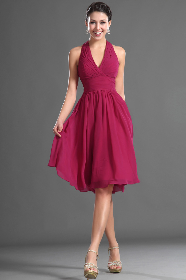 A-line Halter Knee Length Chiffon Dress
