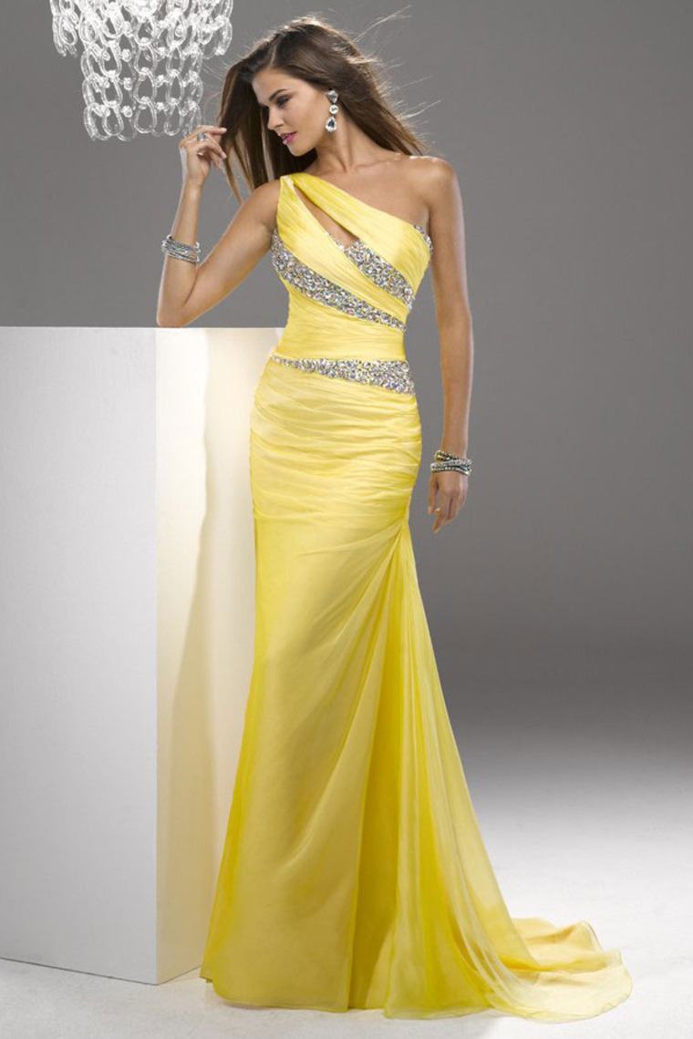 Trumpet/Mermaid One Shoulder Floor-length Chiffon Dress