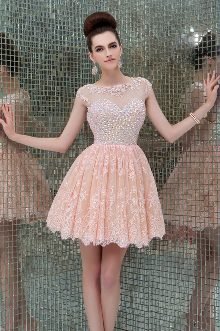 A-line Scoop Short/Mini Lace Tulle Dress