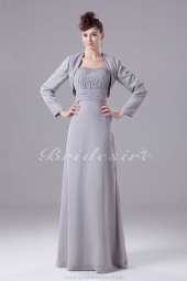 Sheath/Column Strapless Floor-length Long Sleeve Chiffon Mother of the Bride Dress