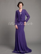 Trumpet/ Mermaid Chiffon Floor-length Strapless Mother of the Bride Dress With A Wrap