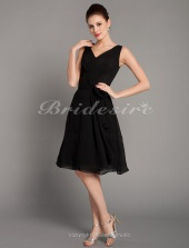 A-line Chiffon Knee-length V-neck Bridesmaid Dress