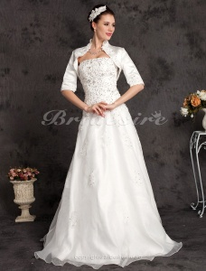 Ball Gown Floor-length Strapless Wedding Dress With Satin Wrap