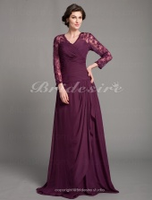 Sheath/ Column Chiffon Floor-length V-neck Mother of the Bride Dress