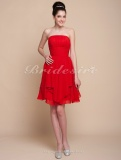 A-line Knee-length Chiffon Strapless Bridesmaid Dress