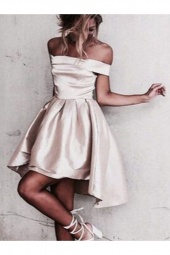 A-line Off-the-shoulder Sleeveless Satin Dress