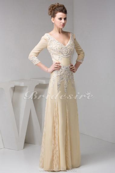 Bridesire A Line V Neck Floor Length 3 4 Length Sleeve