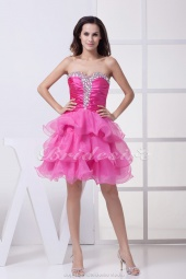 Princess Sweetheart Short/Mini Sleeveless Stretch Satin Organza Dress