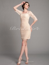 Sheath/ Column Chiffon Knee-length Square Mother of the Bride Dress