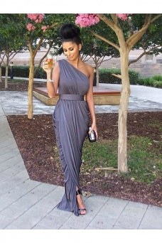 Sheath/Column One Shoulder Sleeveless Chiffon Dress