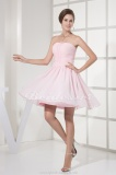 A-line Strapless Short/Mini Sleeveless Chiffon Dress