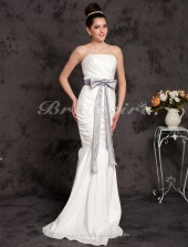 Mermaid//Trumpet Taffeta Floor-length Strapless Wedding Dress