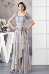A-line Square Floor-length Short Sleeve Chiffon Lace Mother of the Bride Dress