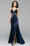 Sheath/Columnn Halter Floor-length Satin Evening Dress