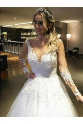 Ball Gown Scoop Long Sleeve Tulle Wedding Dress