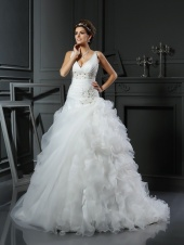 Ball Gown V-neck Sleeveless Organza Wedding Dress