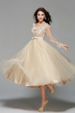 A-line Scalloped-Edge Tea-length Tulle Prom Dress