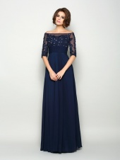 A-line Off-the-shoulder Half Sleeve Chiffon Mother of the Bride Dress