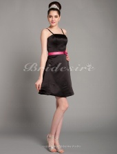 A-line Knee-length Straps Cute Satin Bridesmaid Dress with Removale Straps
