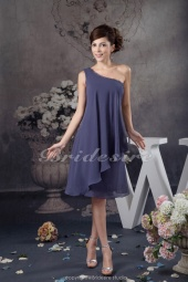 A-line One Shoulder Short/Mini Sleeveless Chiffon Bridesmaid Dress