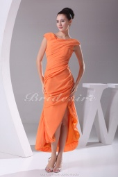Sheath/Column Off-the-shoulder Ankle-length Short Sleeve Chiffon Dress