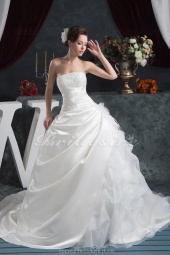 Ball Gown Strapless Floor-length Chapel Train Sleeveless Satin Wedding Dress