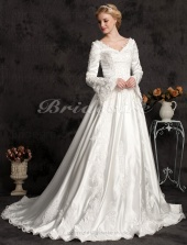 Ball Gown Long Satin Sleeve Luxury V-neck Wedding Dress With Beaded Appliques