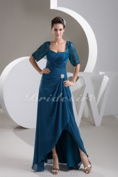 Sheath/Column Sweetheart Floor-length 3/4 Length Sleeve Chiffon Mother of the Bride Dress