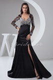 A-line Sweetheart Floor-length Sweep/Brush Train Long Sleeve Satin Dress