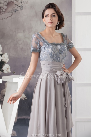 Bridesire Line Square Floor Length Short Sleeve Chiffon Lace Mother The Bride Dress