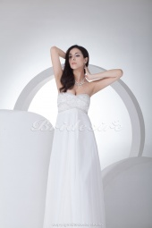 Sheath/Column Strapless Floor-length Sleeveless Chiffon Wedding Dress
