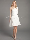 A-line Chiffon Over Elastic Satin Knee-length One Shoulder Bridesmaid Dress