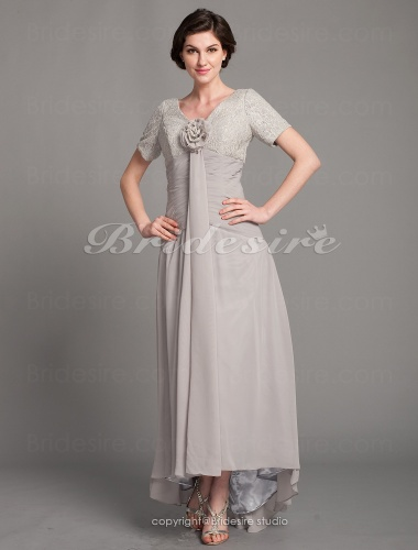 Bridesire A Line Asymmetrical V Neck Chiffon And Lace