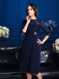 A-line Jewel 3/4 Length Sleeve Chiffon Mother of the Bride Dress
