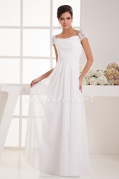 A-line Strapless Floor-length Short Sleeve Chiffon Wedding Dress