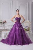 Ball Gown Strapless Chapel Train Sleeveless Organza Dress