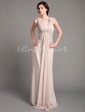A-line Chiffon Sweep/ Brush Train Square Mother of the Bride Dress