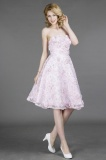 A-line Strapless Knee-length Lace Prom Dress