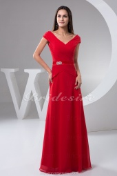 A-line V-neck Floor-length Short Sleeve Chiffon Satin Bridesmaid Dress