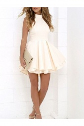 A-line Halter Sleeveless Satin Dress