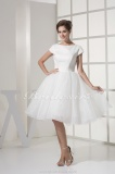 Princess Scoop Knee-length Short Sleeve Organza Taffeta Dress