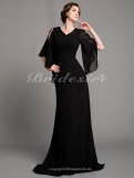 A-line Chiffon Sweep Brush Train V-neck Mother Of The Bride Dress