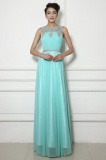 A-line Scoop Floor-length Tulle Prom Dress